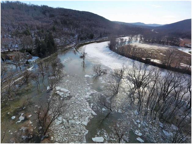 ice, flooding on Housatonic