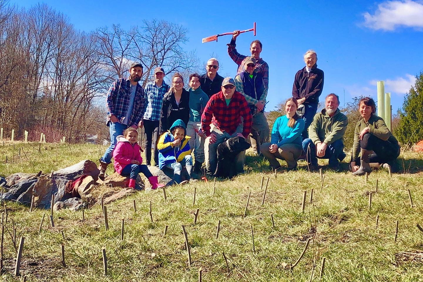 A happy crew after the successful installation of about 500 live willow and dogwood stakes on Wells Brook.